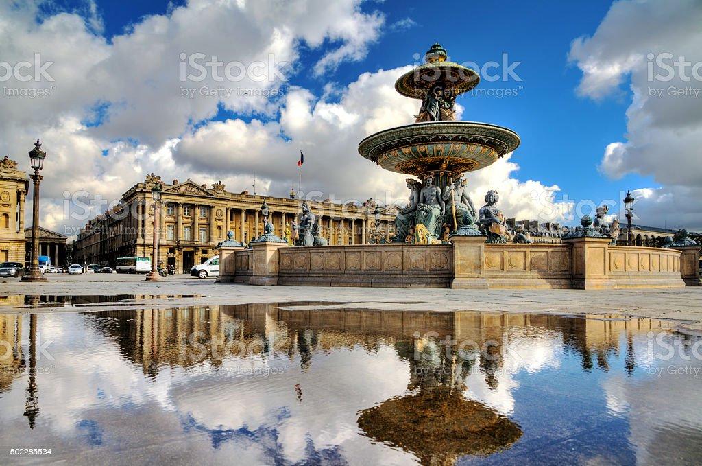 Concorde fountain reflection stock photo