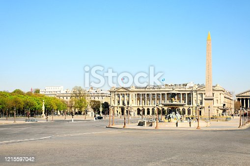 Concorde square and streets are empty during pandemic Coronavirus Covid 19, in 2020 in Europe. People must be at home and be confine. Stores, hotels, restaurants, schools, museums.... are closed. Paris, France. March 25, 2020