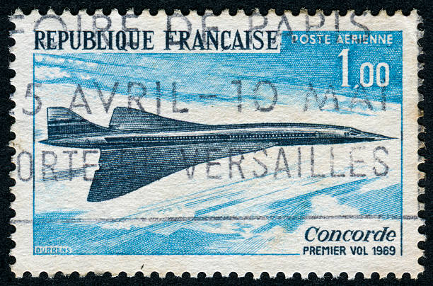 Concorde Stamp Cancelled Stamp From France Featuring A Concorde Airplane supersonic airplane stock pictures, royalty-free photos & images