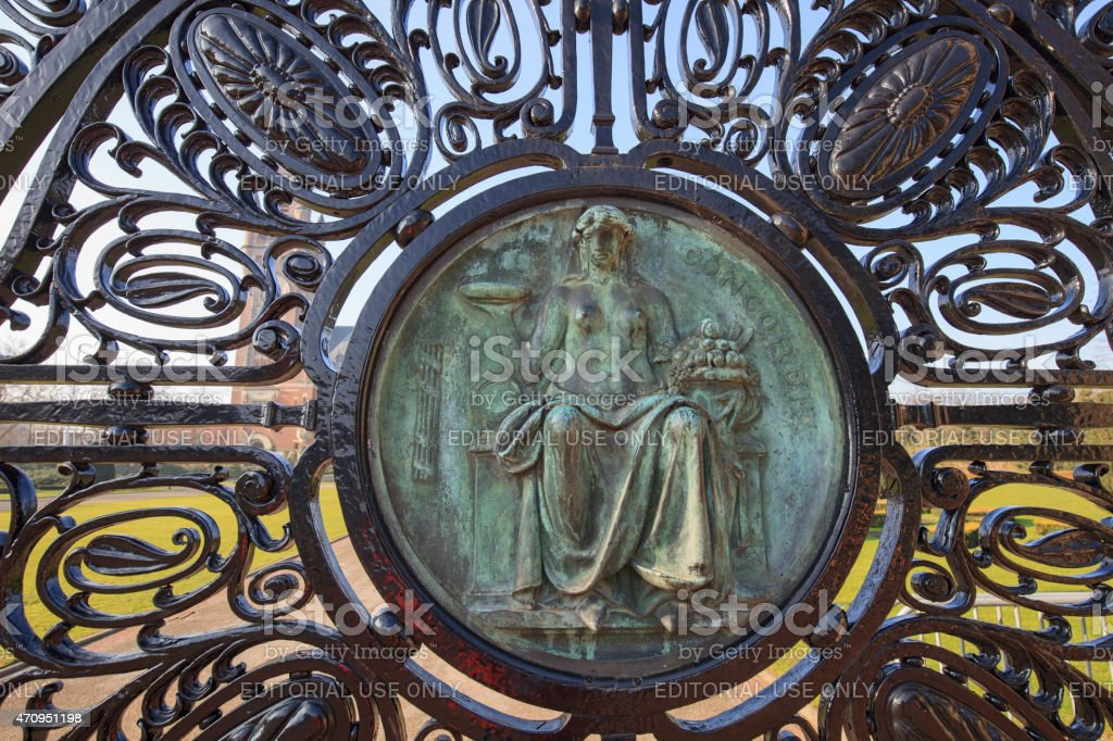 Concordia on an entrance gate of The Hague's Peace Palace stock photo