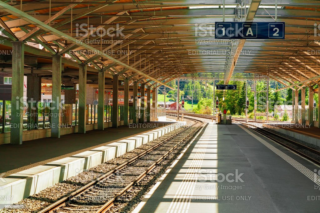 Concourse at Railway train station in Zermatt Valais in CH zbiór zdjęć royalty-free