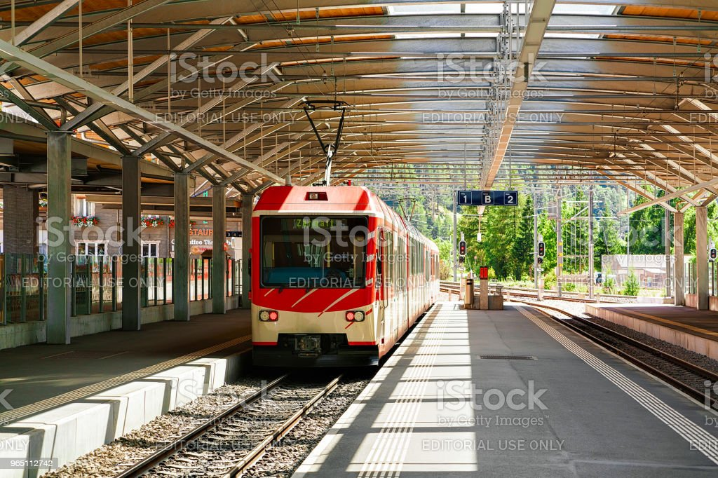 Concourse at Railway train station in Zermatt Visp Switzerland CH royalty-free stock photo