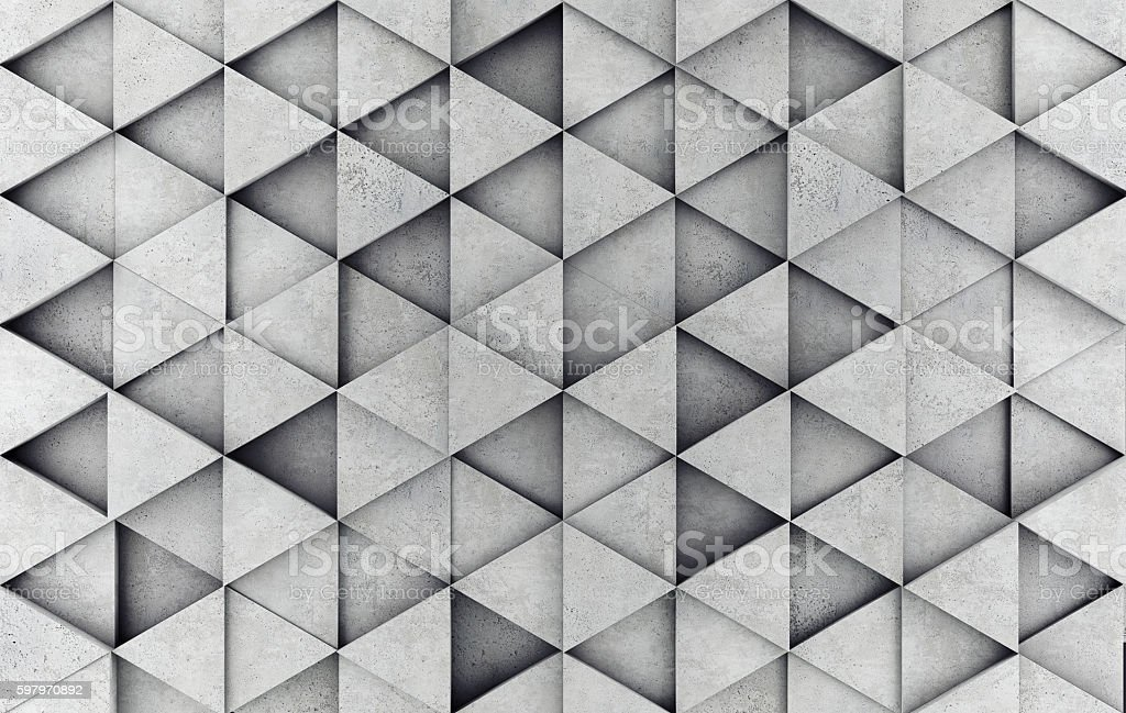 Concrete 3d prism wall stock photo