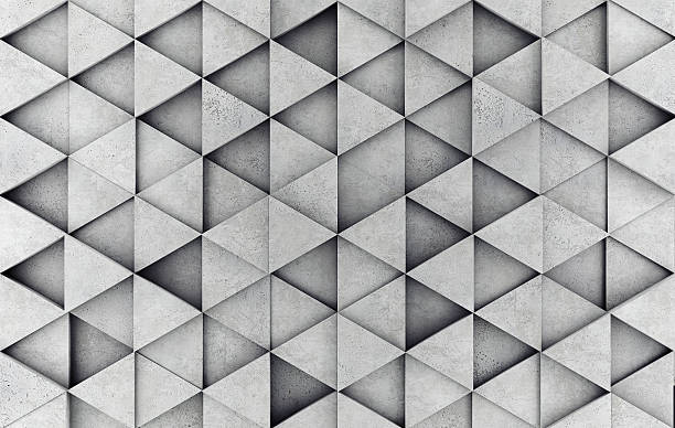 concrete 3d prism wall - geometry stock photos and pictures