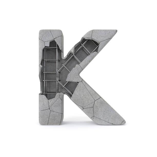 Concrete Alphabet K Concrete Alphabet K with clipping path. 3D illustration k icon stock pictures, royalty-free photos & images