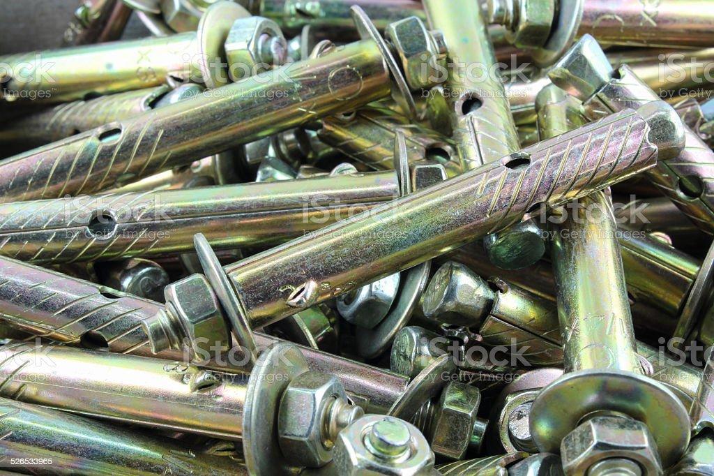 Concrete anchor bolts stock photo