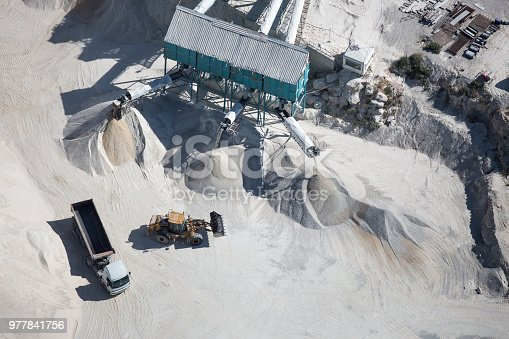 concrete and cement factory shot from high angle above