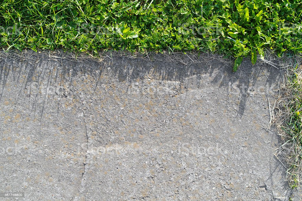 concrete and grass texture stock photo