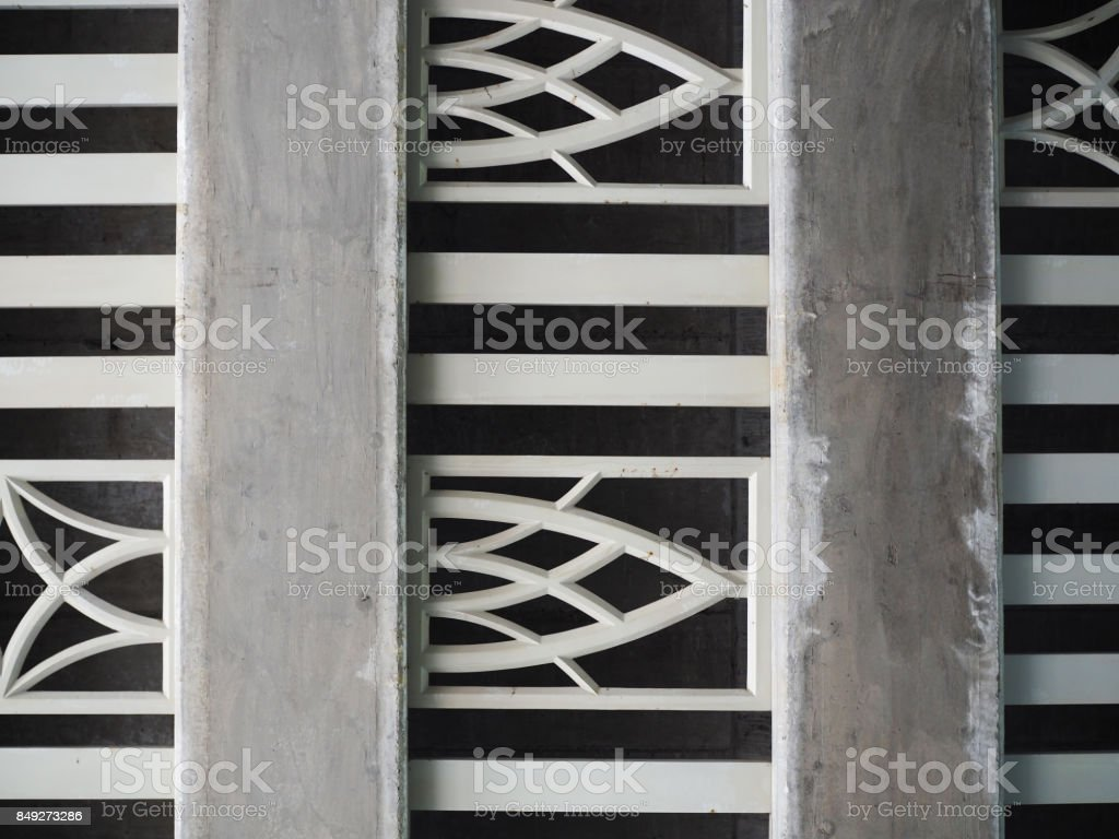 Concrete and grey steel, lotus petal filigree art, bar ceiling, under the bridge stock photo