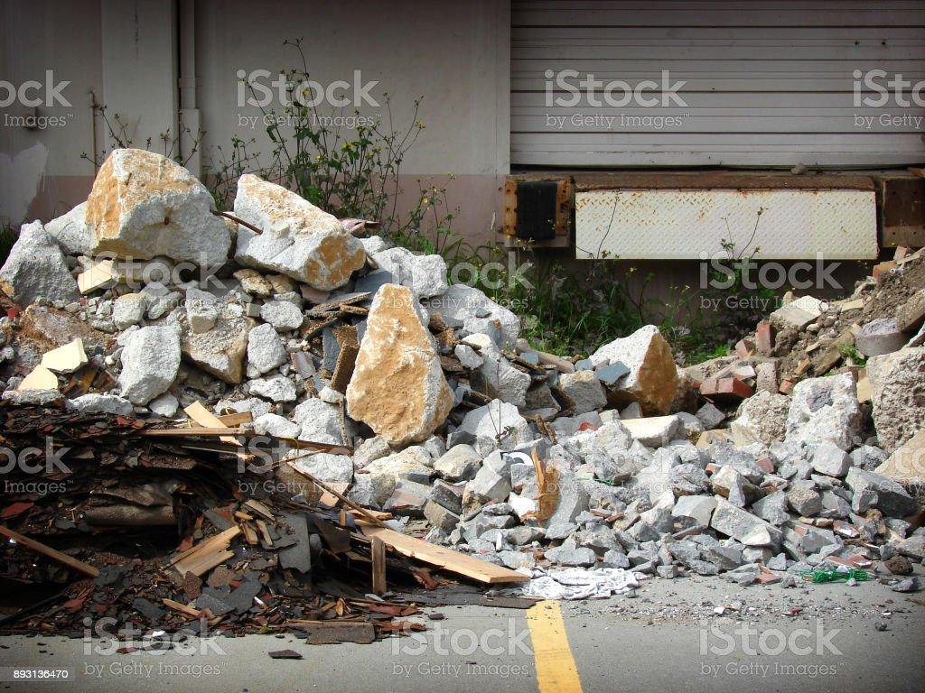 concrete and rubble stock photo