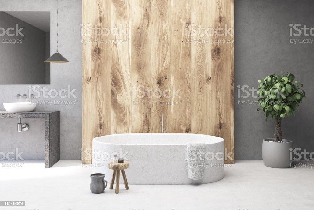 Beton Und Holz Badezimmer Interieur Badewanne Stockfoto und ...