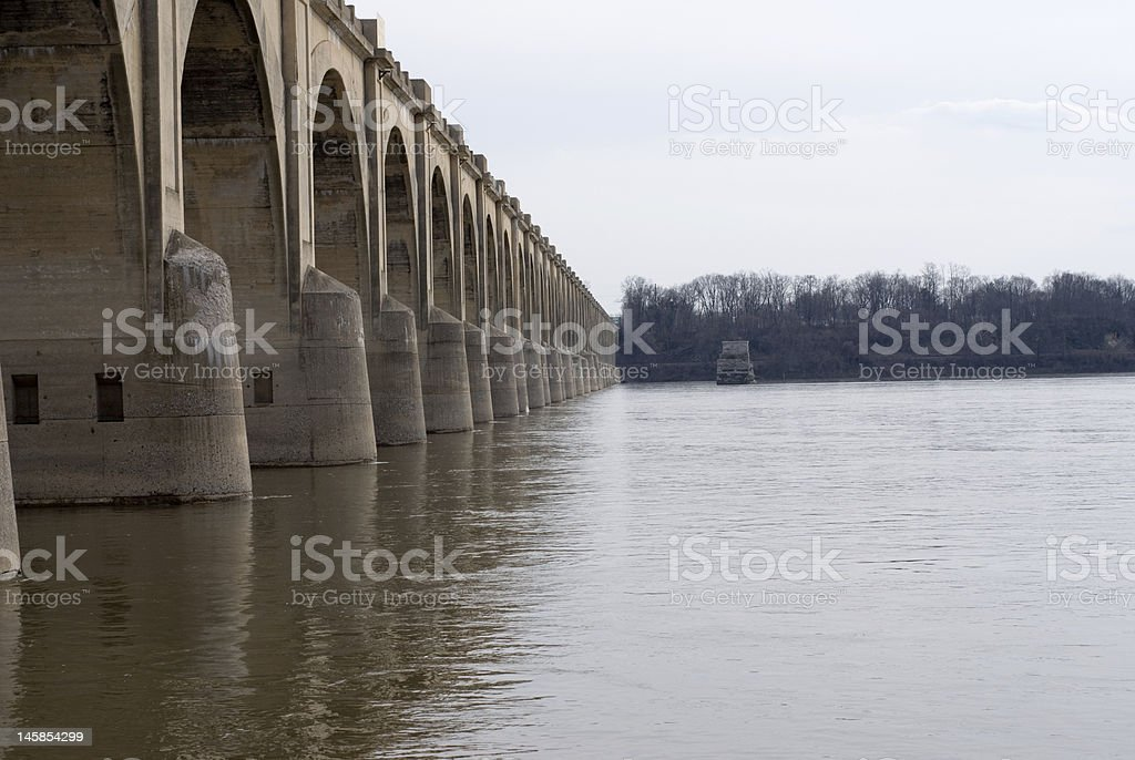 Concrete arch bridge stock photo
