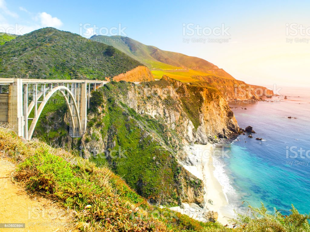 Concrete arch of Bixby Creek Bridge on Pacific rocky coast, Big Sur, California, USA stock photo