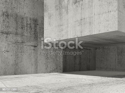 istock Concrete architecture background, 3d render 957311350
