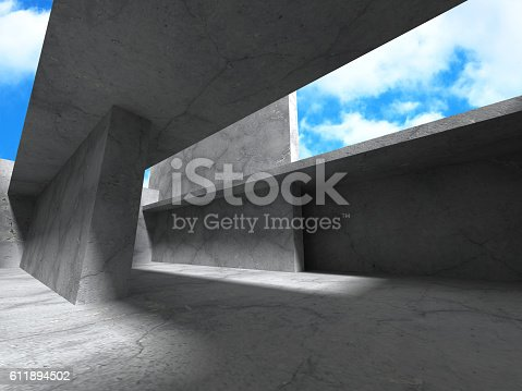 istock Concrete architecture background. Abstract Building modern desig 611894502