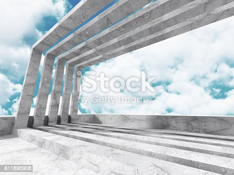 istock Concrete architecture background. Abstract Building modern desig 611895908