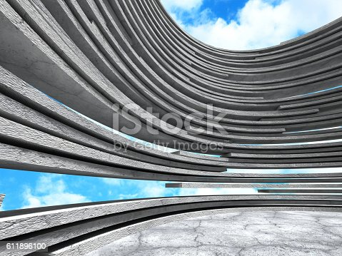 istock Concrete architecture background. Abstract Building modern desig 611896100