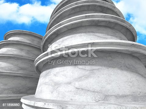 istock Concrete architecture background. Abstract Building modern desig 611896880