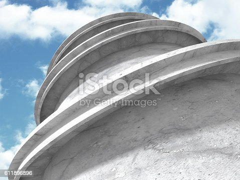 istock Concrete architecture background. Abstract Building modern desig 611896896