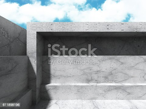 istock Concrete architecture background. Abstract Building modern desig 611898196