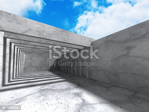 istock Concrete architecture background. Abstract Building modern desig 611898682
