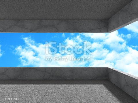 istock Concrete architecture background. Modern building on cloudy sky 611896700