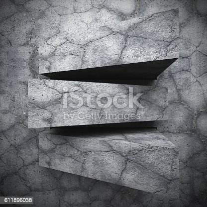 istock Concrete architecture geometric blocks abstract wall background 611896038