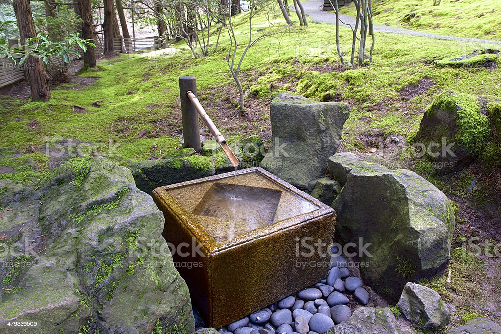 Concrete Bamboo Water Fountain Trail Portland Japanese Garden Oregon Spring stock photo