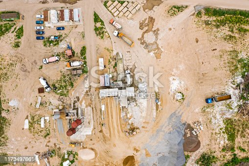 istock concrete batching plant on construction site. trucks loading at concrete mixing factory. aerial image 1173497661
