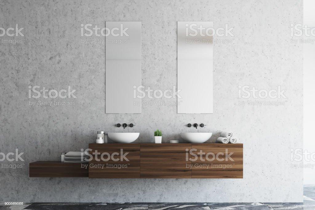 Concrete bathroom double sink stock photo