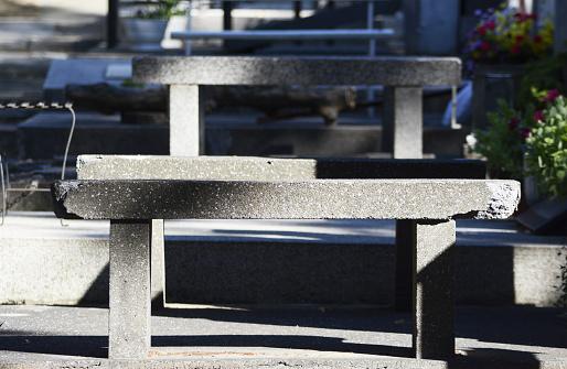 a concrete benches in a public cemetery in Belgrade (Republic of Serbia)