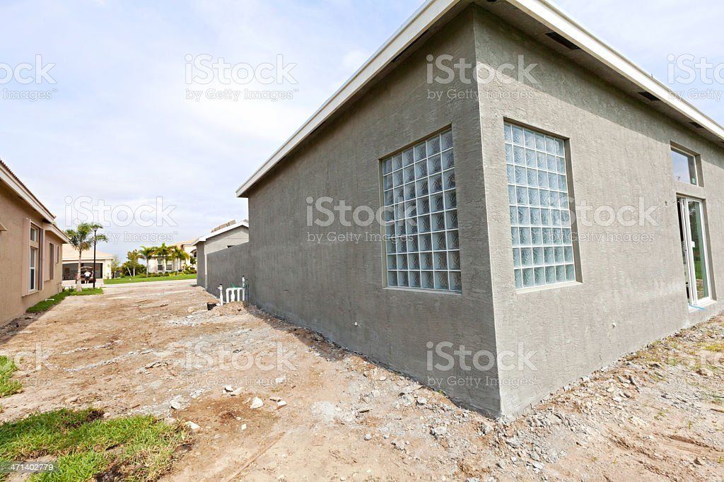 Concrete block construction after stucco series stock for Concrete block stucco