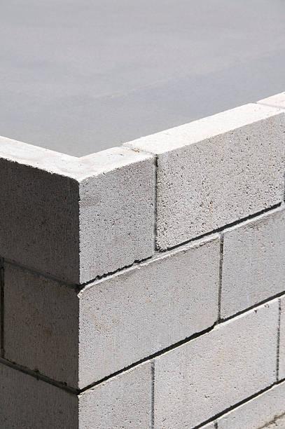 concrete block ecke - betonblock wände stock-fotos und bilder