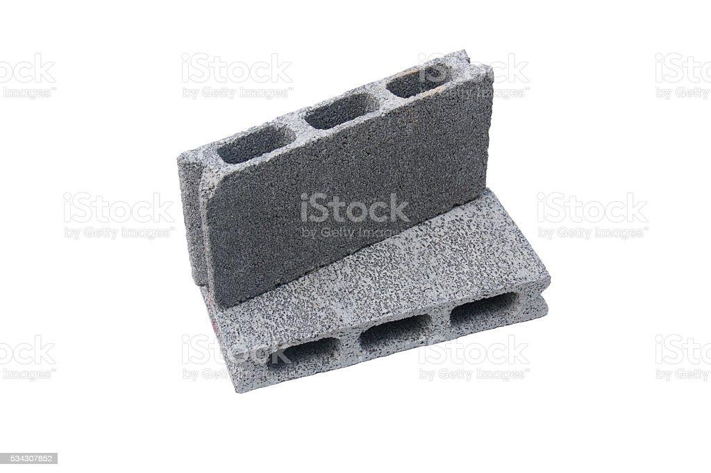 Concrete block isolated on white background stock photo