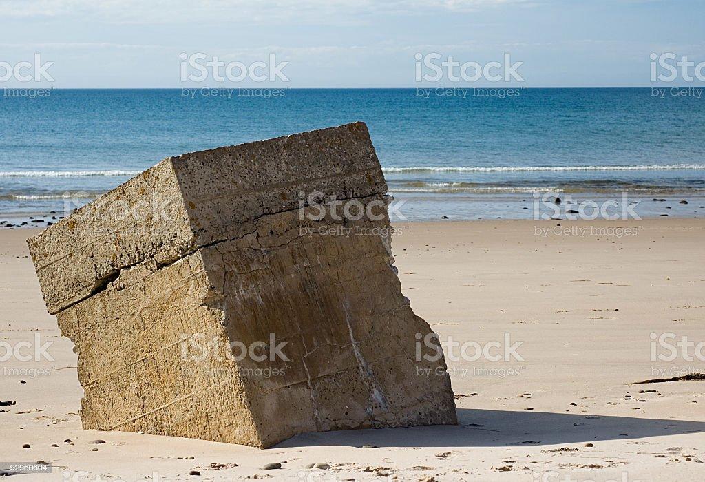 Concrete Block on the Beach royalty-free stock photo