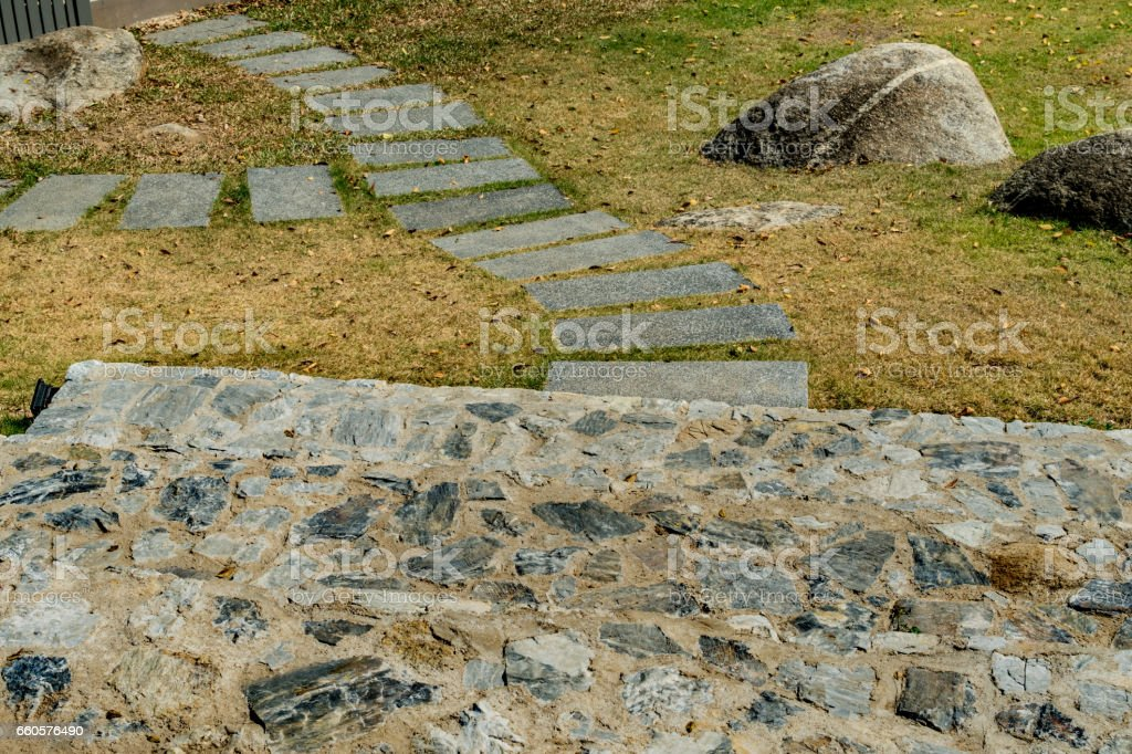 Concrete block Pathway in park royalty-free stock photo