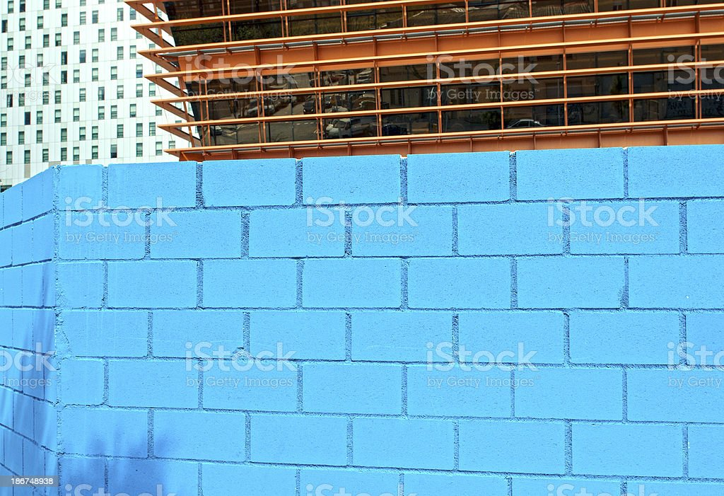 Concrete block wall around construction site in Barcelona royalty-free stock photo