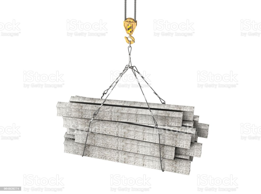 concrete blocks on the crane 3d illustration royalty-free stock photo