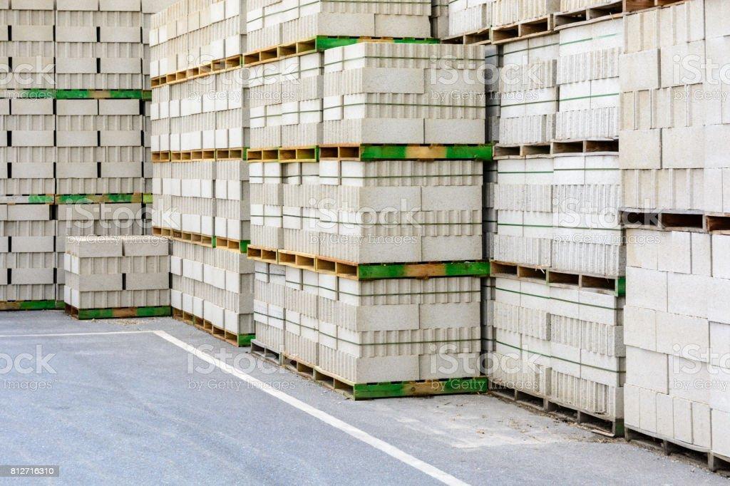 Concrete blocks stacked outdoors. stock photo
