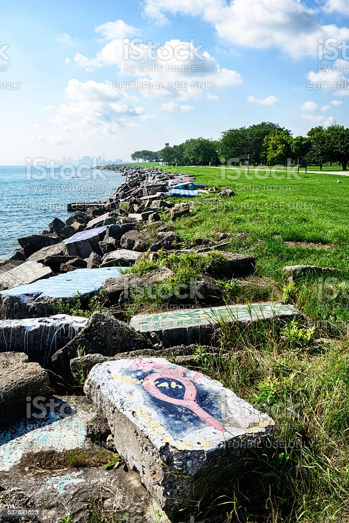 Concrete blocks with graffiti, Lake Michigan, near Chicago stock photo