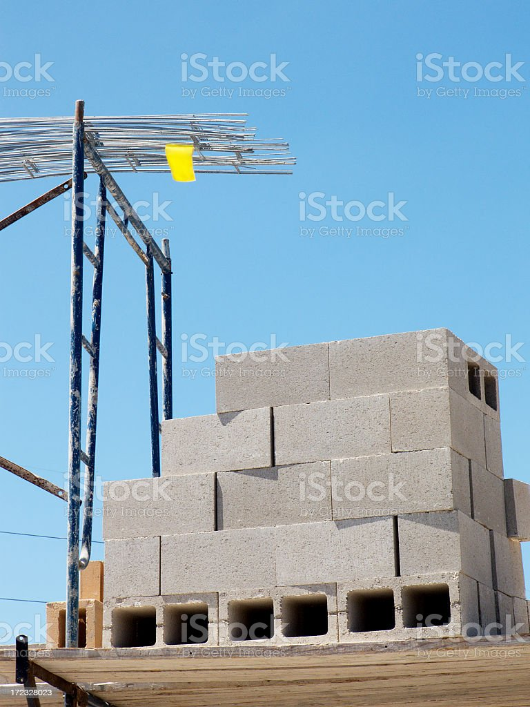 Concrete blocks with Rebar royalty-free stock photo
