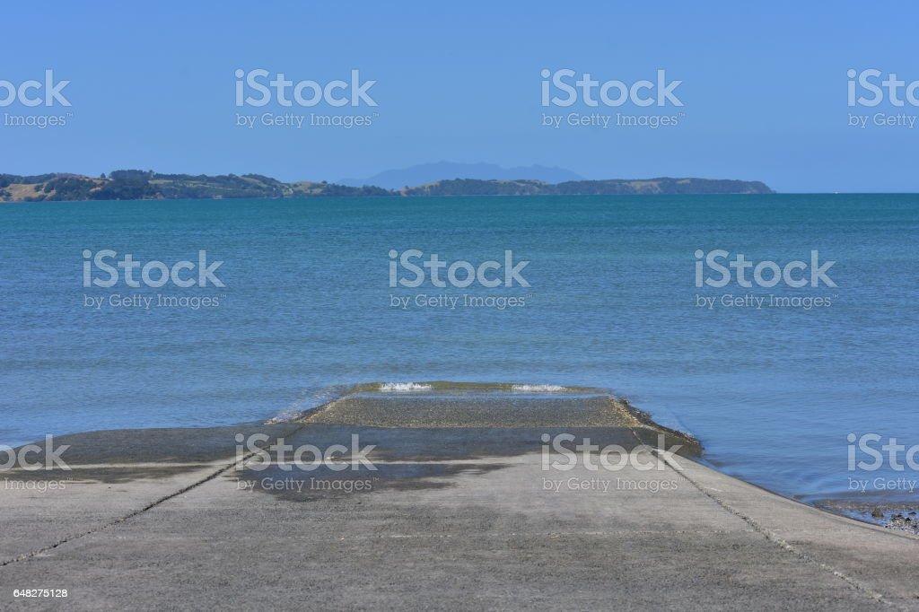 Concrete boat ramp stock photo