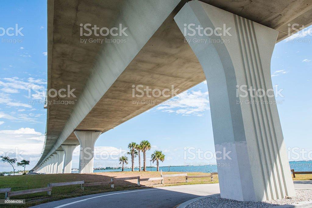 Concrete Bridge Under Blue Skies stock photo