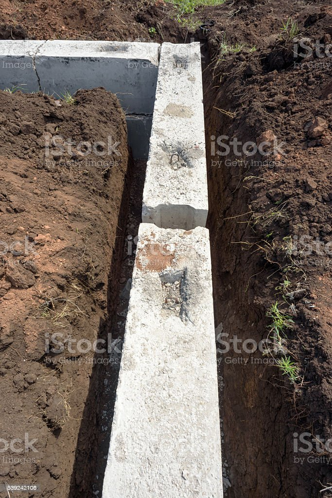 Concrete Building Block House Foundations in Earth royalty-free stock photo