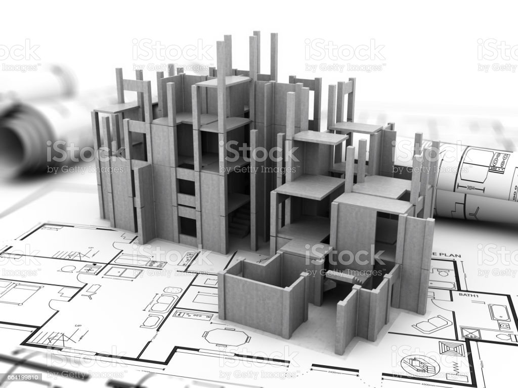 concrete building construction stock photo