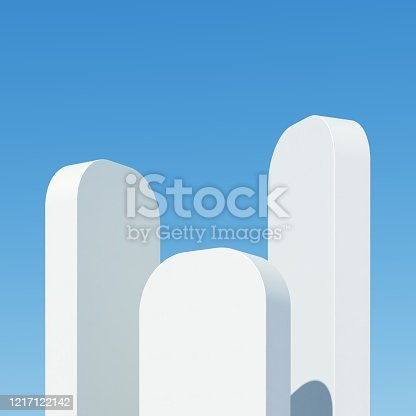 951228698 istock photo Concrete building smooth with shadows on sky background. Minimal architecture Ideas concept. 3D Render. 1217122142