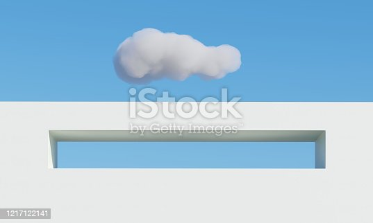 951228698 istock photo Concrete building with cloud shadows on sky background. Minimal architecture Ideas concept. 3D Render. 1217122141