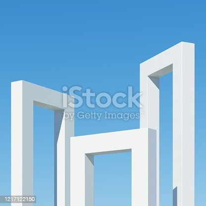 951228698 istock photo Concrete building with shadows on sky background. Minimal architecture Ideas concept. 3D Render. 1217122150