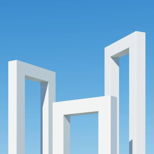 Betongebäude mit Schatten auf Himmelshintergrund. Minimale Architektur IdeenKonzept. 3D-Rendern. – Foto