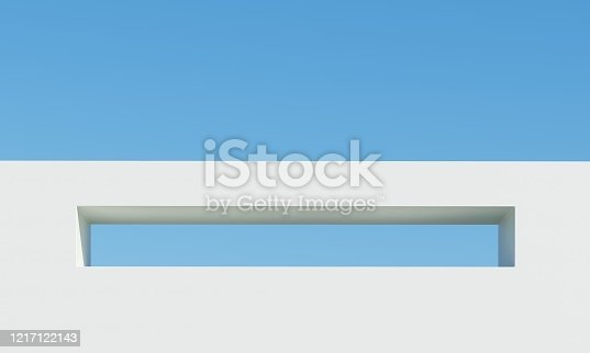 951228698 istock photo Concrete building with sky background. Minimal architecture Ideas concept. 3D Render. 1217122143